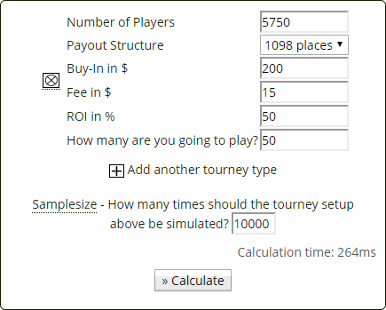 tournament variance calculator primedope